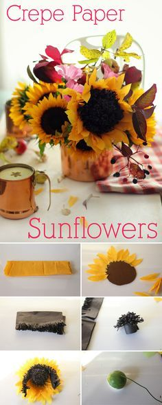 Crepe paper is the BEST! How gorgeous are these crepe paper sunflowers? Exactly what your home or work desk needs (no watering required!)