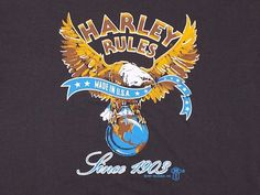 850ba2b6d0d18 Vintage 50 50 Harley Davidson Rules Black Thin T Shirt Center Star 1987 3D  Eagle