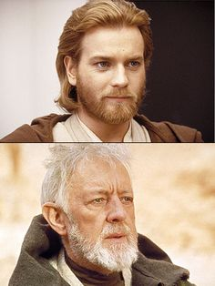 Ewan McGregor and Alec Guinness as Obi-Wan Kenobi in the Star Wars Saga.