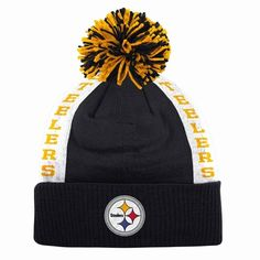 Pittsburgh Steelers Mitchell   Ness Side Bar Premium Cuffed Knit Hat w  Pom 0a2a462e8