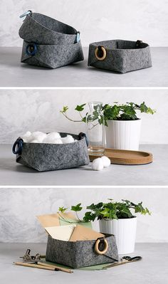 These Minimalist Grey Felt Baskets Add Style To Storage These small and modern grey felt baskets can be used like catch-alls at the front door, or as small storage vessels in the bedroom. Small Storage, Storage Baskets, Bag Storage, Basket Organization, Felt Diy, Felt Crafts, Toy Containers, Modern Baskets, Toy Bins