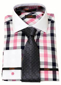 Steven Land Men's Pink & Black Check Dress Shirt & Brand Q Tie Combo