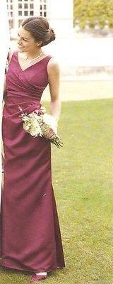 ELEGANT BNWT BHS SATIN MERLOT/BURHUNDY BRIDESMAID DRESS SIZE 10