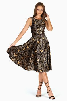 d5e26660923e  Golden garden velvet princess  midi dress from Black Milk clothing