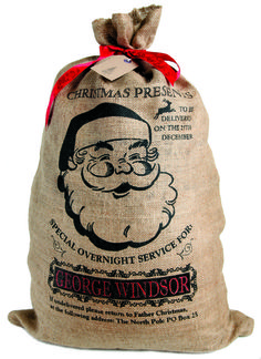 Personalised hessian Christmas sack, jolly Santa design xmas stocking £17.99