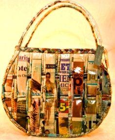 Recycled newspaper handbag. i love the design!