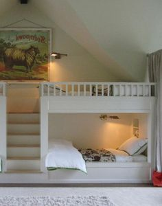 Built In Bunk Beds with a vaulted ceiling