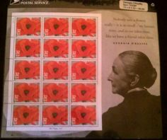 Georgia O'Keeffe USPS 32 cent stamps - Red Poppy, 1927