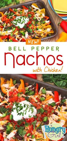 Chicken Bell Pepper Nachos + More Healthy Nacho Recipes - - Love cheesy nachos but not all the excess carbs and calories? This healthy nacho recipe uses bell peppers in place of chips! Healthy Nachos, Healthy Recipes, Nacho Recipes, Mexican Food Recipes, Chicken Recipes, Cooking Recipes, Chicken Bell Pepper Recipes, Recipes Dinner, Cooking Games