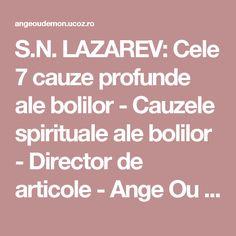S.N. LAZAREV: Cele 7 cauze profunde ale bolilor - Cauzele spirituale ale bolilor  - Director de articole - Ange Ou Demon - psihologie energetica