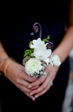 bridesmaids--this is tiny so we'd do something twice the size but overall it is all white/cream with dark pops (fiddlehead fern) and grey accents Wedding Story, Wedding Vows, Wedding Blog, Wedding Reception, Reception Ideas, Dark Pop, Hand Bouquet, Groom Boutonniere, Seasonal Flowers