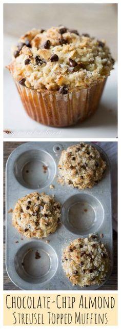 Chocolate-Chip Almond Streusel Topped Muffins #savingroomfordessert #chocolatechipmuffin #muffin #almondmuffin