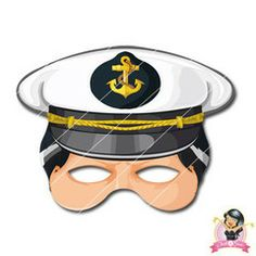 Printable Naval Captain's Mask for Children Printable Masks, Printables, Half Mask, Mask For Kids, Printer Paper, Hole Punch, Print And Cut, Activities For Kids, Party Supplies