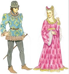 c. 1450    The man wears a short pourpoint jacket lined with fur.  His hat is trimmed with a gold coronet.  The woman wears an escoffion with a veil and gold ribbon attached.  Her brocade gown has fur-lined dalmation sleeves.  Jewels and gold were often used to line clothing of the nobility as a means to display wealth.