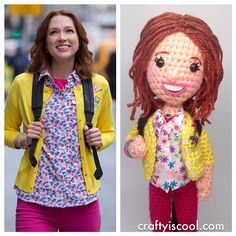 I LOVE Crafty is Cool's Unbreakable #KimmySchmidt doll - the shoes light up!!! #amigurumi #crochet