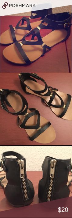 CUTE STRAPPY SANDALS🖤 CUTE STRAPPY SANDALS 🖤 -black straps with little gold rivets. -tan/brown sole. -zipper backing. -size 7 1/2 US women: I usually wear a size 8, but these fit perfect. -a previous favorite of mine.🖤 -some imperfections: creases on the soles and straps, signs of wear. Shoes Sandals