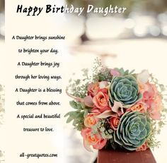 daughter birthday cards for facebook | Birthday Greetings for Daughter Quotes
