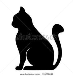 Silhueta preta de gato. Ilustração vetorial.