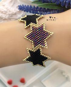 Stars in miyuki - Katarine Luci Seed Bead Earrings, Beaded Earrings, Beaded Jewelry, Beaded Bracelets, Brooches Handmade, Handmade Bracelets, Handmade Jewelry, Jewelry Making Beads, Jewelry Shop
