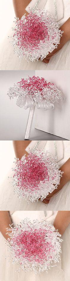 Zebratown Acrylic Crystal Pearl Silk Roses Bridal Bridesmaid Wedding Bouquet (Pink)