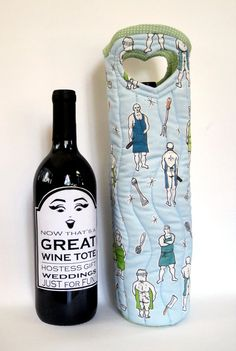 Wine Tote Naked Chef Men by NotYourGrandmothers on Etsy, $38.00