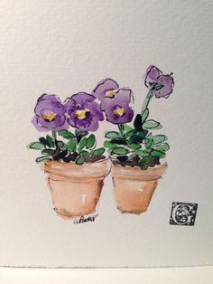 Potted Pansy Blooms Watercolor Card by gardenblooms on Etsy, $3.50
