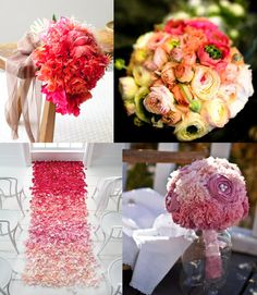 ombre wedding bouquets  #summer #flowers #roses #pink #red #white #yellow