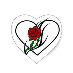 278f2c940 Red Rose Tattoo Heart Stickers Rose Heart Tattoo, Rose Tattoos, Heart Tattoo  Designs,