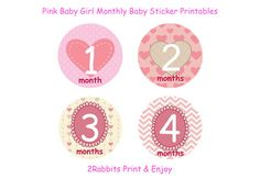 #DIY #Printable #Monthly #Baby #Stickers-Pink Gurl Baby Shower by 2RabbitsPrintEnjoy