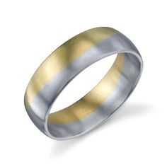 """Christian Bauer """"creating beautiful wedding rings without compromise."""" Two-Tone Palladium & 18K Gold Wedding Ring / Band ( 272728 ) ~ $1,410"""