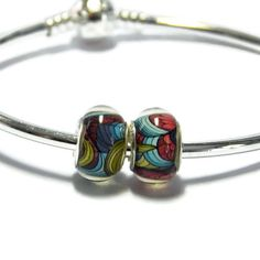 Multi Color Abstract  Bead for  European Style Charm Bracelet