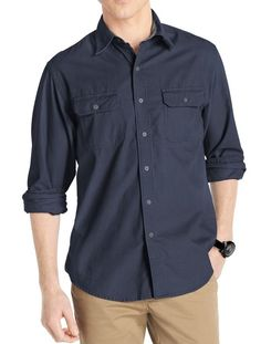 IZOD NEW Midnight Blue Mens US Size Large L Corduroy Button-Front Shirt $65 #114