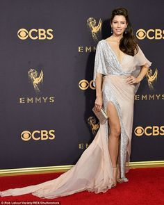 Spectacular: Jessica Biel positively stole the show as she stunned at the 69th Primetime Emmy Awards at the Microsoft Theater in downtown Los Angeles on Sunday night
