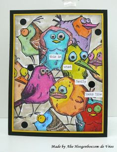 Stamped Card With The Tim Holtz Crazy Birds One Layer