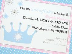 Snow Princess Party Invitations