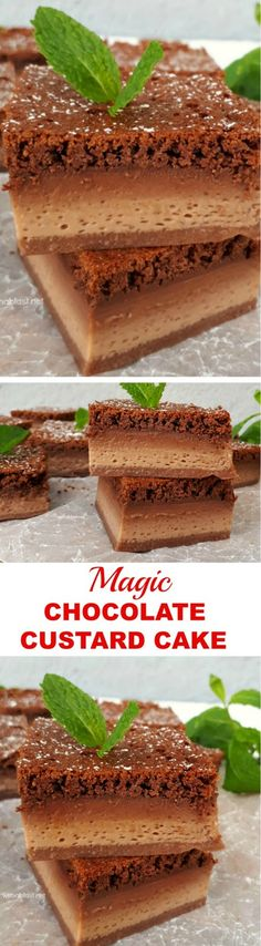 Decadent ! Mix and bake, so easy to make this Magic Chocolate Custard Cake  #MagicCake #Magic #Cake #Chocolate