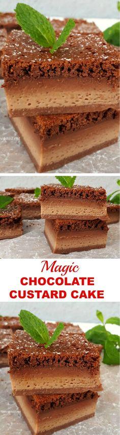 Decadent ! Mix and bake, so easy to make this Magic Chocolate Custard Cake