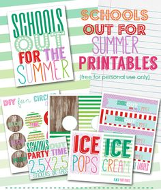FREE Summer Printables, Free Printables, Summer Printables, Free Water Bottle Labels, Free Party Favor Tags via Party Box Design