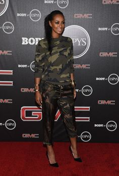3  Keri Hilson's ESPN's BODY Issue Pre-Party Valentino Camouflage Print Sweatshirt and Camouflage Pants