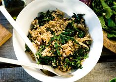 Wheat Berries with Charred Onions and Kale. Made this. So good!