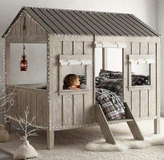 Would do it a little differently, but like the idea of a kids bed in a play house