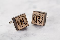 DIY Monogram Wood Cufflink Rustic Wedding Idea Groomsmen gift wedding party gift