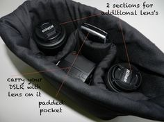 Camera Bag insert DSLR for your purse, padded slr carrier...Carry everything In One Bag, ... by Darby Mack