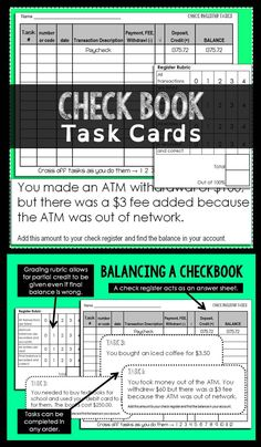 Balancing checkbook task cards. A check register acts as an answer sheet. Students can complete the tasks in any order. Great for teaching Consumer Math.