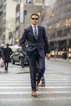 Bar 3 navy suit, shirt, collegiate tie, & brown oxfords   Shop the look at http://iamgalla.com/2015/02/settingthebar/