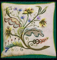 Jacobean Crewel Embroidery, very fetching, not too cluttered