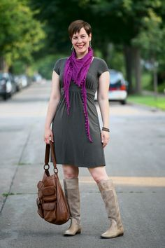 Already Pretty outfit featuring Athleta dress, Eileen Fisher bubble scarf, perforated boots, Banana Republic hobo bag worn by @Sally McGraw