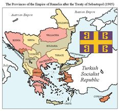 Although the Congress of Berlin had ceded the entirety of European Turkey to the Kingdom of Rumelia, the status of the Romanian principalities was still. Empire of Rumelia Alternate Worlds, Alternate History, Map Symbols, Map Diagram, Modern World History, Republic Of Macedonia, Austrian Empire, Age Of Empires, Old World Maps