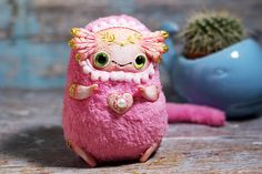 kawaii doll collectible toy ooak fantasy doll axolotl art toy