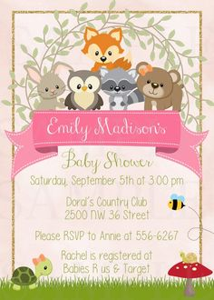 Adorable Cute Woodland Friends Forest Animals Girls or Boy Theme Baby Shower or Birthday - Printable File Baby Shower Cupcakes For Boy, Baby Girl Shower Themes, Baby Shower Table, Baby Shower Decorations, Baby Boy Shower, Baby Shower Invitaciones, Shower Bebe, Woodland Baby, Woodland Forest